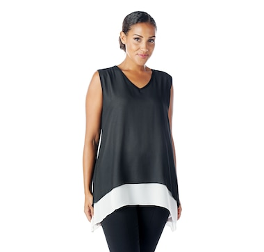Marallis Chiffon Soft V-Neck Double Layered Tank with Contrast Underlayer