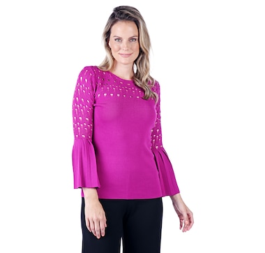 Guillaume Textured Knit Top with Bell Sleeves