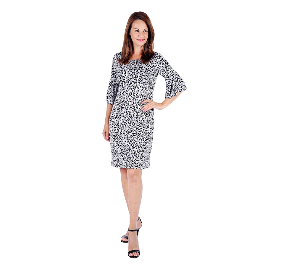 Image 525730_ANP.jpg , Product 525-730 / Price $39.33 , Tiana B. Printed Jersey Dress With Ruffle Bell Sleeve from Tiana B Fashions on TSC.ca's Fashion department