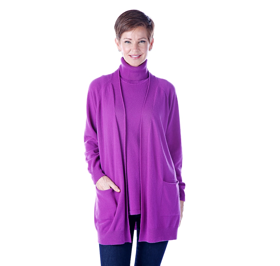 Image 526288_PUR.jpg , Product 526-288 / Price $199.90 , Bellina Extra-Fine Merino/Cashmere Duster Cardigan from Bellina on TSC.ca's Fashion department