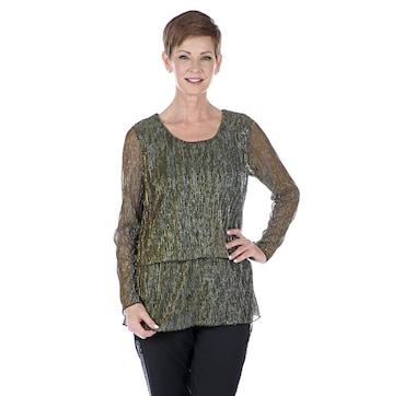 002862c9e63 Joan Rivers Classics Collection Shimmering Metallic Double Layer Knit Top