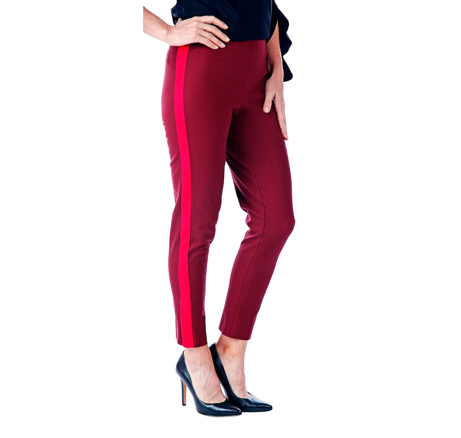 Image 526454_MGRD.jpg , Product 526-454 / Price $29.33 , Isaac Mizrahi Live 24/7 Stretch Ankle Slim Pull On Pant with Stripe from Isaac Mizrahi Fashion on TSC.ca's Fashion department