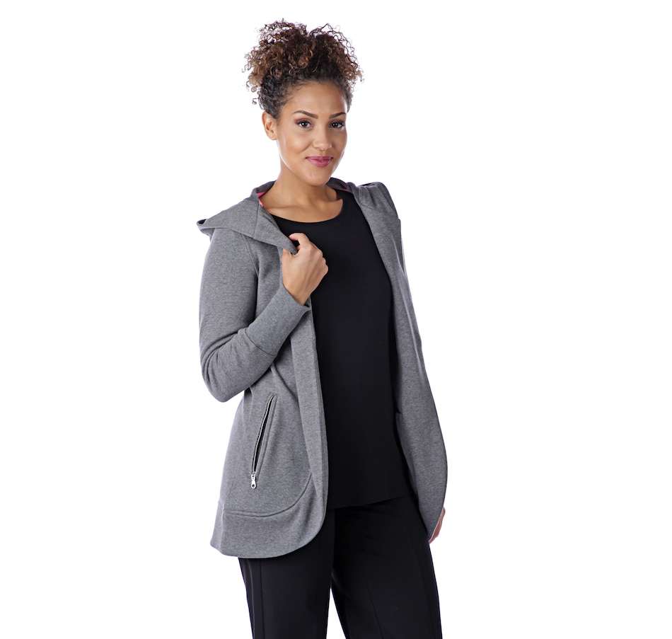 Image 526524_HGY.jpg , Product 526-524 / Price $51.88 , Isaac Mizrahi Live! Soho Open Front Cocoon Hoodie from Isaac Mizrahi Live! on TSC.ca's Fashion department