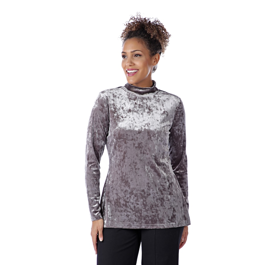 Image 526526_SHGRY.jpg , Product 526-526 / Price $29.88 , Isaac Mizrahi Live! Crushed Velvet Mock Neck With Peplum Back from Isaac Mizrahi Live! on TSC.ca's Fashion department