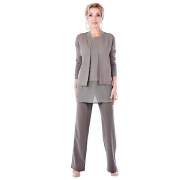 Brian Bailey Knit Open Cardigan & Sleeveless Top with Georgette Shirt Bottom