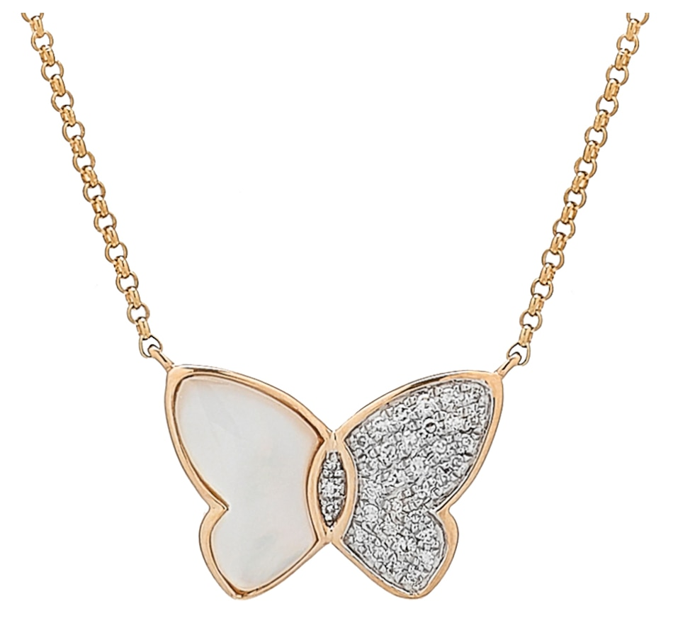 Image 527134.jpg , Product 527-134 / Price $899.99 , EFFY Jewellery 14K Yellow Gold Diamond and Mother of Pearl Butterfly Necklace from Effy Jewellery on TSC.ca's Jewellery department