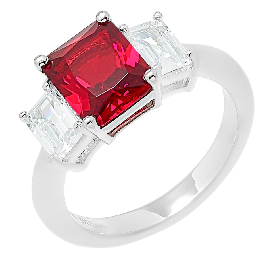 Image 527276_RBY.jpg , Product 527-276 / Price $39.33 , Gem Illusions Sterling Silver Simulated Gemstone Trinity Ring from Gem Illusions on TSC.ca's Jewellery department