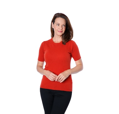 Bellina Extra Fine Merino/Cashmere Short Sleeve Crew Neck Top