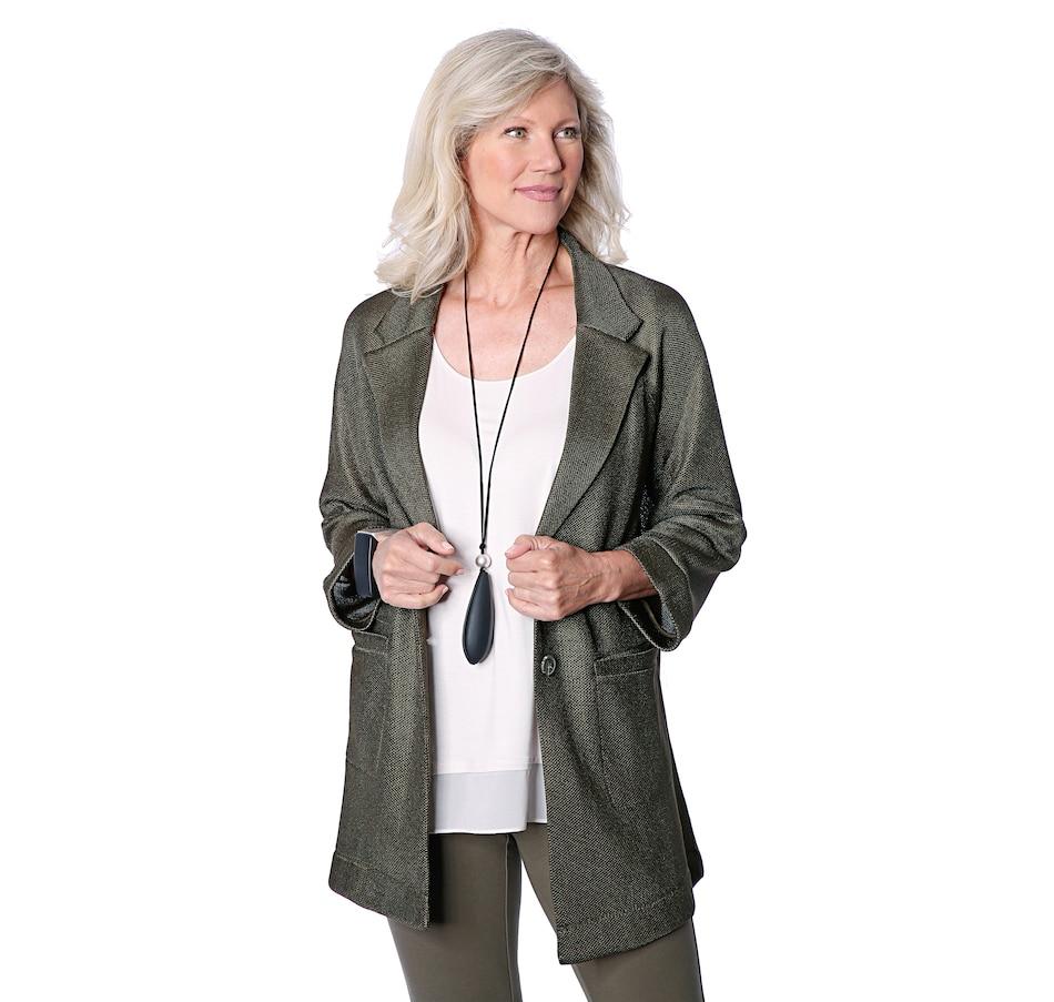 Image 528470_FER.jpg , Product 528-470 / Price $119.90 , WynneLayers Raglan Sleeve Mesh Blazer from WynneLayers on TSC.ca's Fashion department