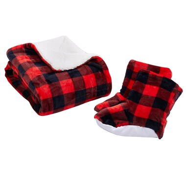HomeSuite Essentials Buffalo Check Throw and Bootie Set