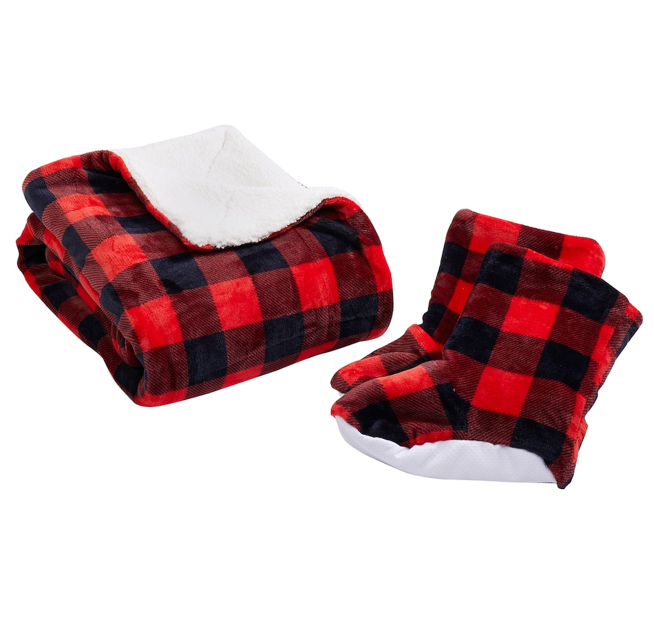 Image 528973_RED.jpg , Product 528-973 / Price $15.33 , HomeSuite Essentials Buffalo Check Throw and Bootie Set from HomeSuite Collection on TSC.ca's Home & Garden department