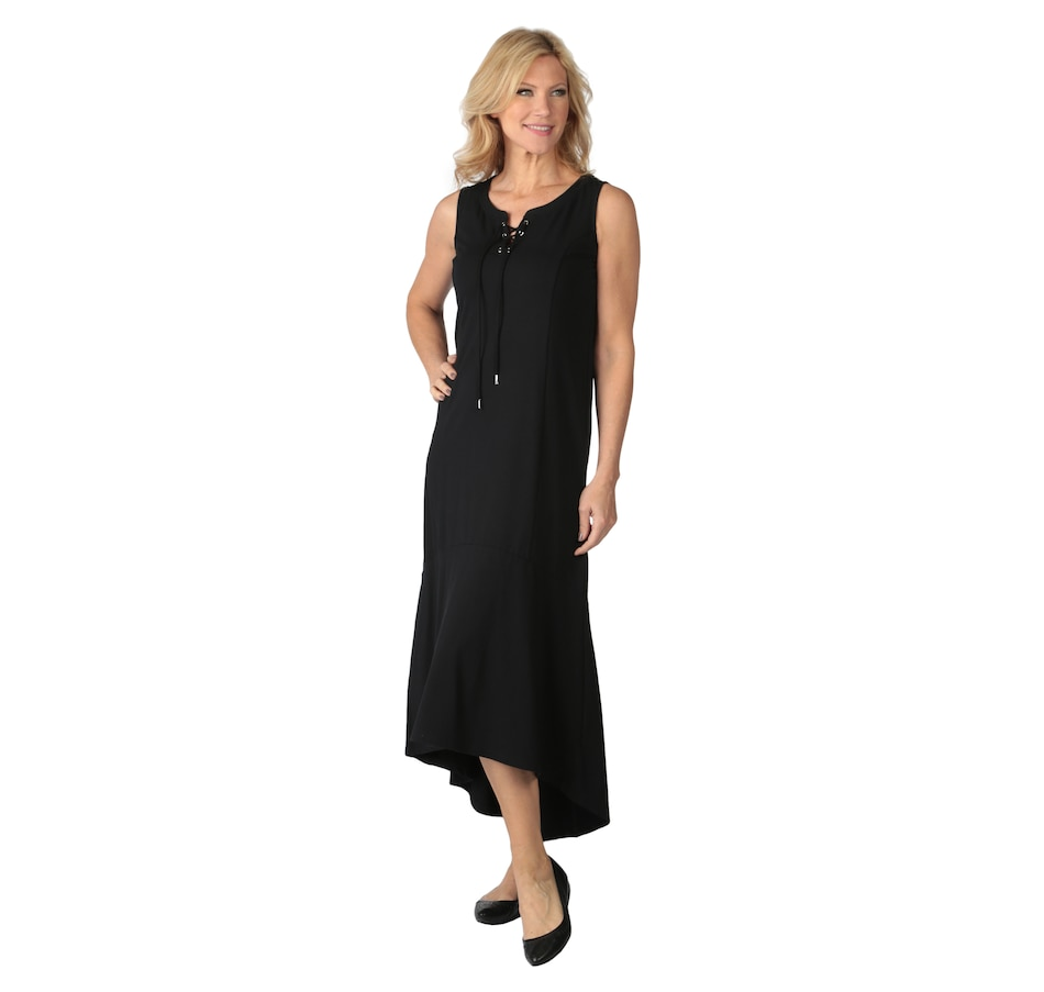 Image 537564_BLK.jpg , Product 537-564 / Price $30.33 , Isaac Mizrahi Live! Sleeveless Lace-Up Fluted Maxi Dress from Isaac Mizrahi Fashion on TSC.ca's Fashion department
