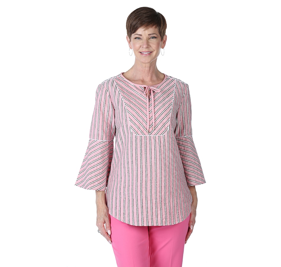 Image 538785_DRO.jpg , Product 538-785 / Price $18.33 , Isaac Mizrahi Live! Directional Stripe Tunic from Isaac Mizrahi Fashion on TSC.ca's Fashion department