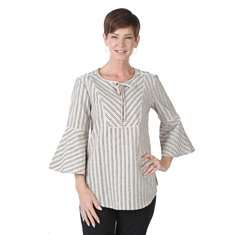 Image 538785_SAN.jpg , Product 538-785 / Price $18.33 , Isaac Mizrahi Live! Directional Stripe Tunic from Isaac Mizrahi Fashion on TSC.ca's Fashion department