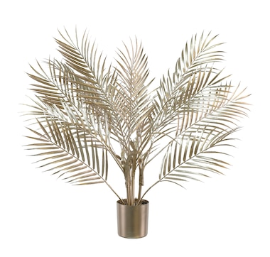 Holiday Memories Potted Palm Plant with Metal Finish