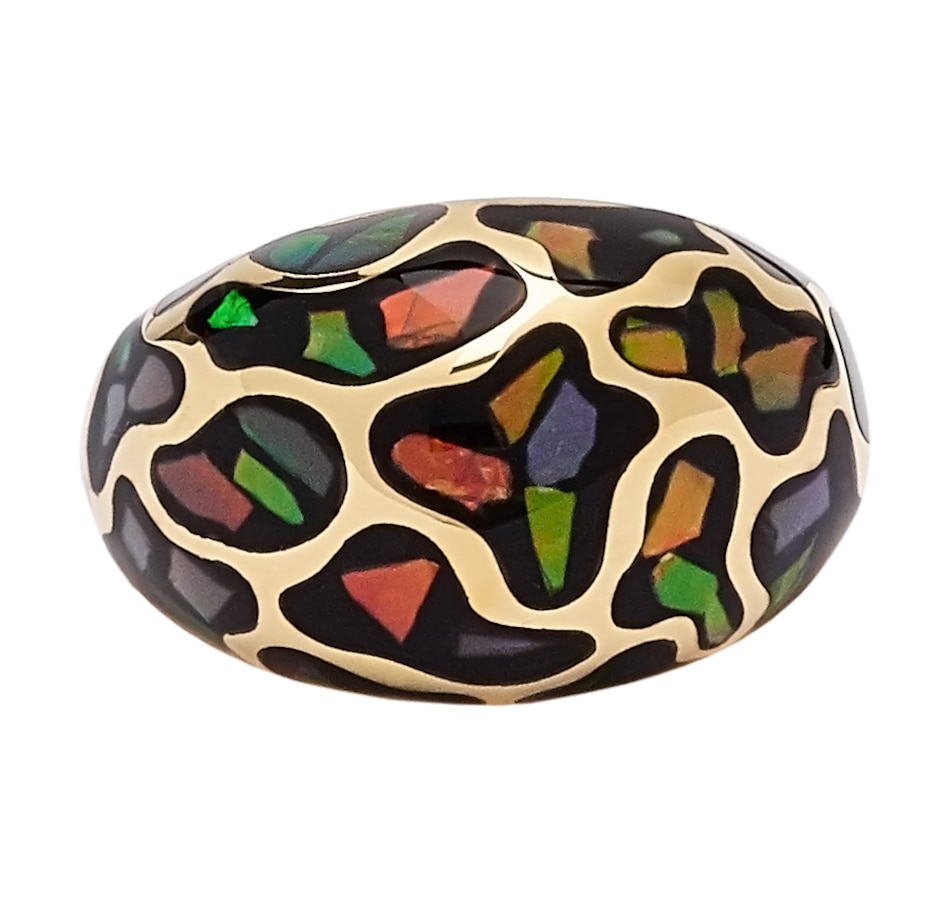 Image 543890_YGP.jpg , Product 543-890 / Price $229.99 , Korite Ammolite Sterling Silver Mosaic Dome Ring from Korite Ammolite on TSC.ca's Jewellery department
