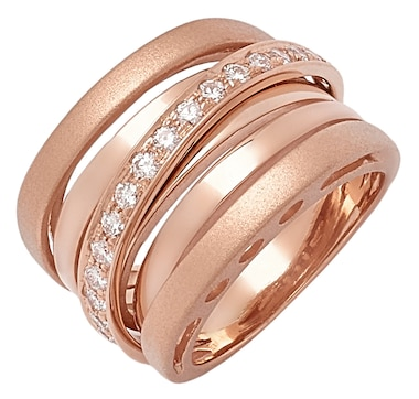 UNOAERRE 18K Gold Diamond Iconic Two Textured Crossover Ring
