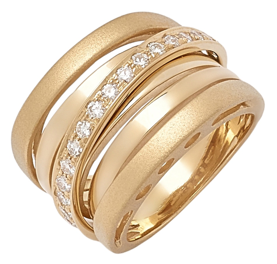 Image 544237_YGL.jpg , Product 544-237 / Price $3,774.99 , UNOAERRE 18K Gold Diamond Iconic Two Textured Crossover Ring from The Vault on TSC.ca's Jewellery department