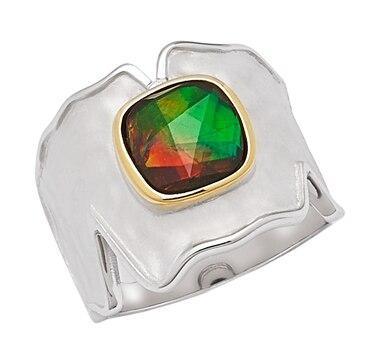 Korite Ammolite Sterling Silver 8mm Cushion Cut Ammolite Ring