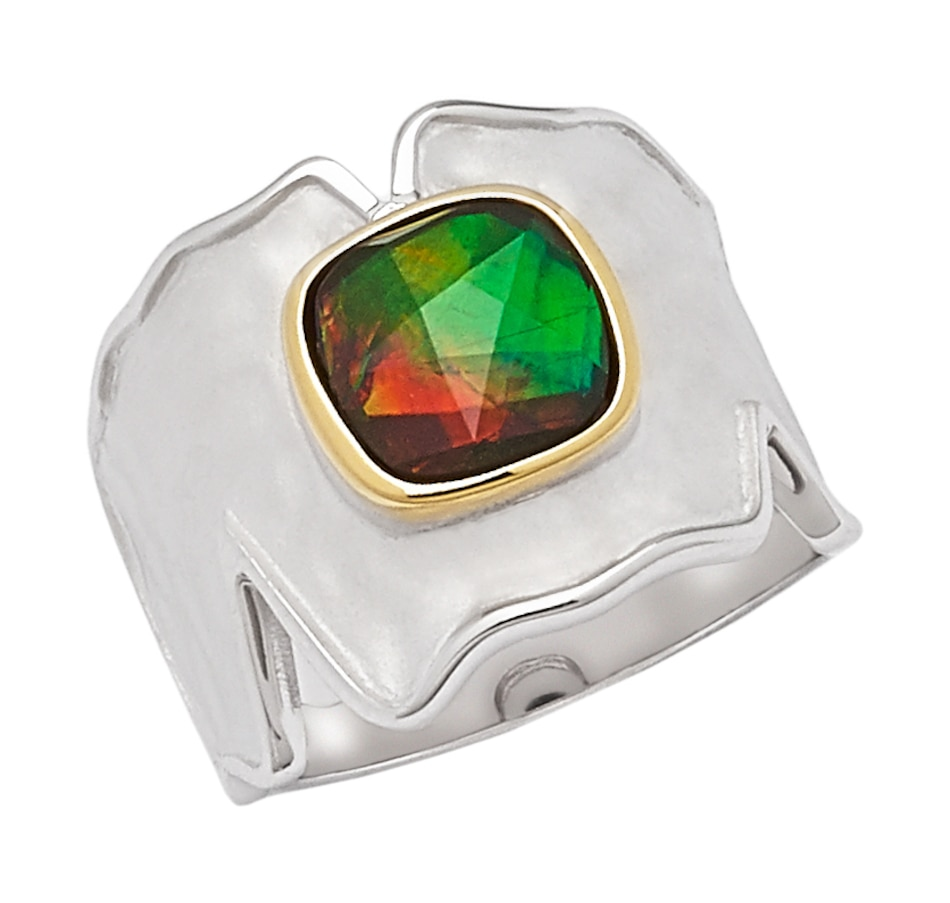 Image 545222.jpg , Product 545-222 / Price $229.99 , Korite Ammolite Sterling Silver 8mm Cushion Cut Ammolite Ring from Korite Ammolite on TSC.ca's Jewellery department