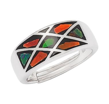 Korite Ammolite Sterling Silver Mosaic Ammolite Ring