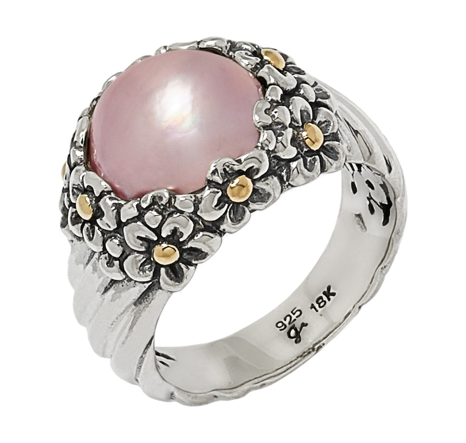 Image 546597_PNK.jpg , Product 546-597 / Price $99.99 , Samuel B. Collection Sterling Silver & 18k Yellow Gold Accent Mabe Pearl Flower Design Ring from Samuel B. Collection on TSC.ca's Jewellery department