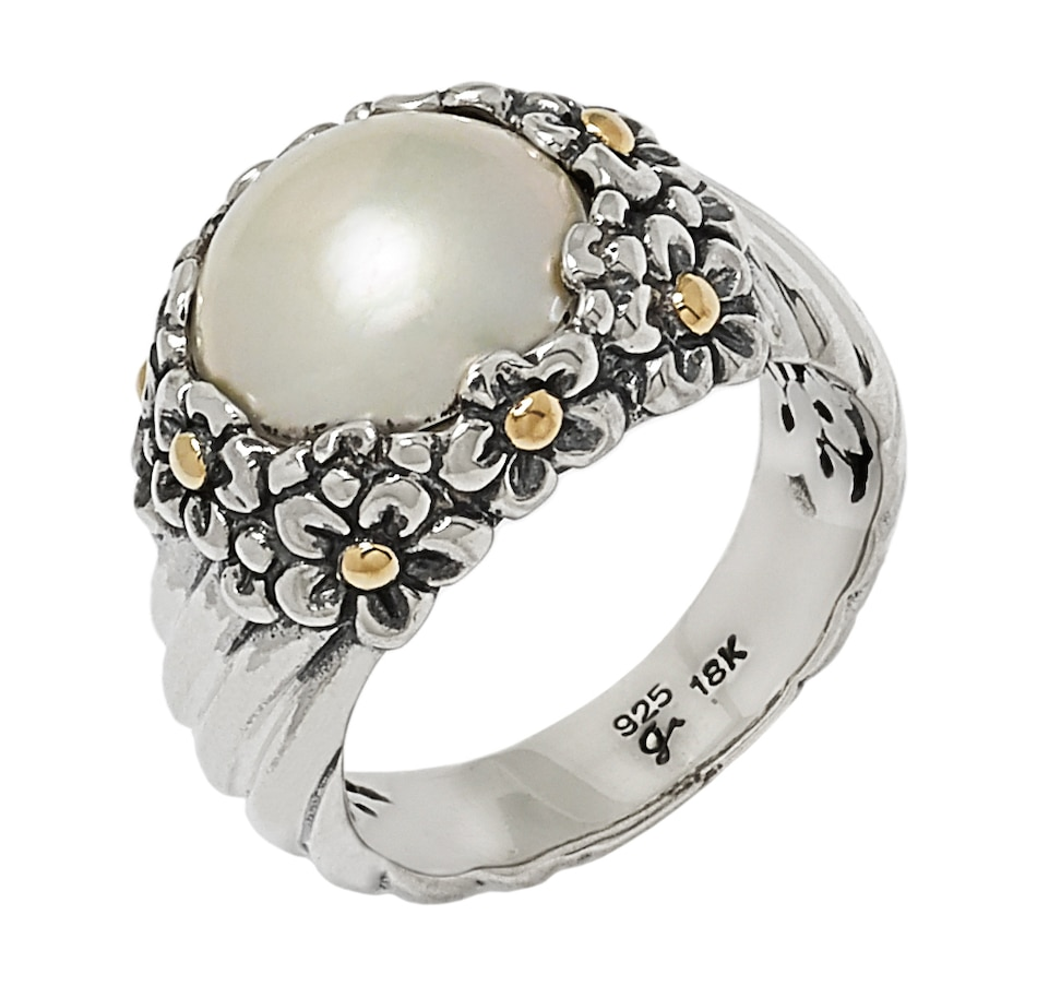 Image 546597_WHT.jpg , Product 546-597 / Price $102.99 , Samuel B. Collection Sterling Silver & 18k Yellow Gold Accent Mabe Pearl Flower Design Ring