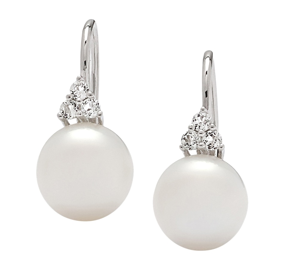 Image 546828_WHT.jpg , Product 546-828 / Price $149.99 , Imperial Pearl Sterling Silver 9-10mm Freshwater Pearl & White Topaz Leverback Earrings from Imperial Pearls on TSC.ca's Jewellery department