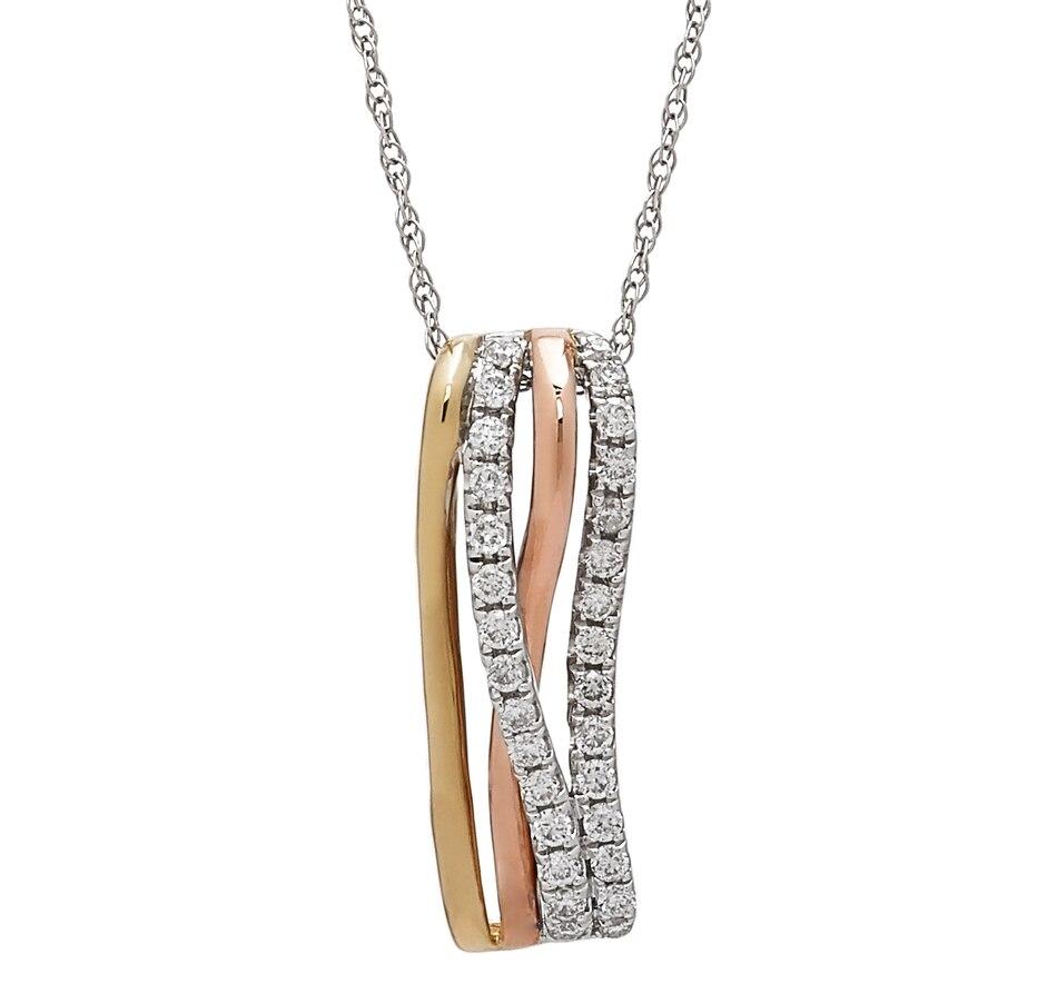 Buy 10k tricolour gold diamond wave pendant 18 chain jewellery buy 10k tricolour gold diamond wave pendant 18 chain jewellery pendants online shopping for canadians aloadofball Gallery