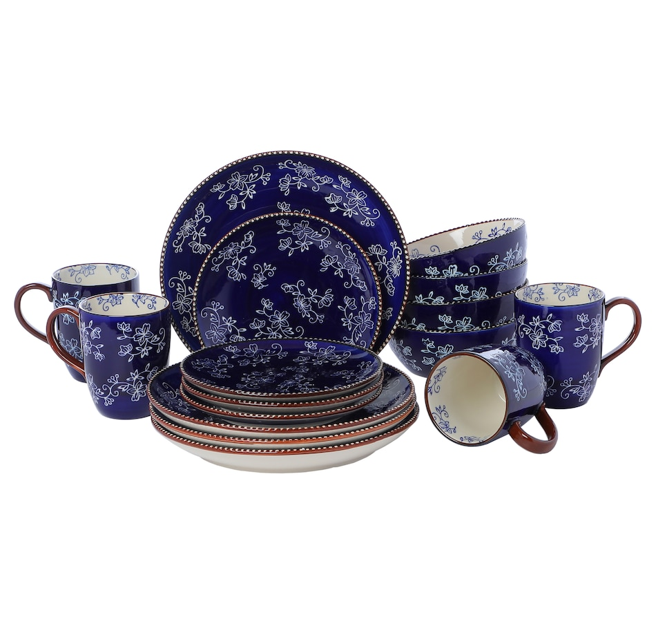 Image 547216_FLBLU.jpg , Product 547-216 / Price $69.77 , temp-tations 16-Piece Dinnerware Set from temp-tations on TSC.ca's Kitchen department