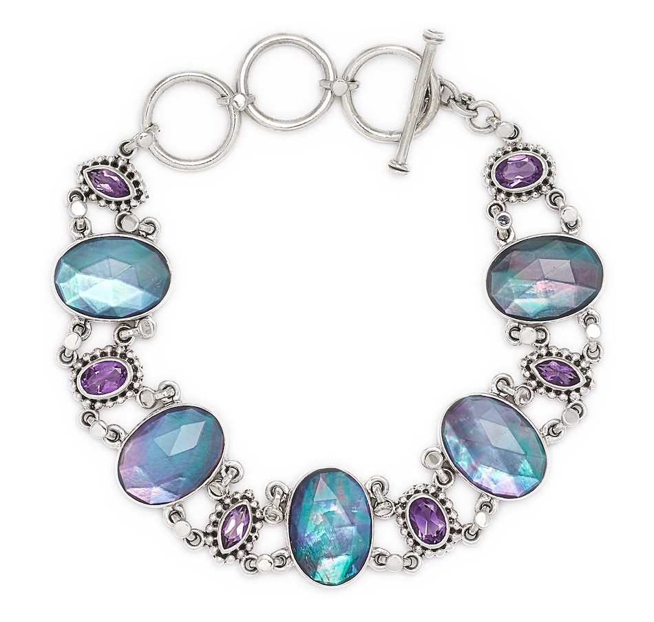 Image 547693_ONTRI.jpg , Product 547-693 / Price $199.99 , Himalayan Gems Sterling Silver Multi Gemstone Etruscan Link Bracelet from Himalayan Gems on TSC.ca's Jewellery department