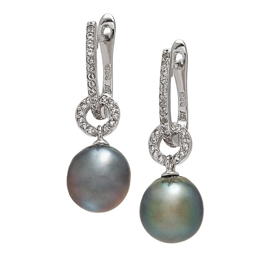 Image 547772_WTOP.jpg , Product 547-772 / Price $55.33 , Roz Kwan Jewellery Sterling Silver 9-10mm Tahitian Pearl & Gemstone 2-in-1 Drop Earrings from Roz Kwan Jewellery Collection on TSC.ca's Jewellery department