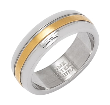 Emma Skye Men's Stainless Steel & Yellow IP 8.00mm Brushed Stripe Wedding Band Ring