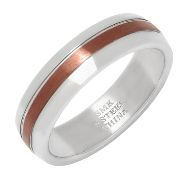 Stainless Steel & Chocolate IP 6mm Brushed Stripe Wedding Band Ring