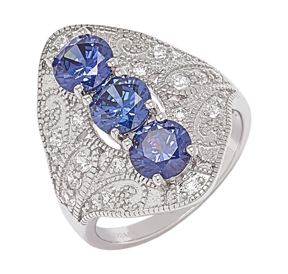 Image 548333.jpg , Product 548-333 / Price $49.33 , Tanzanite Illusions Sterling Silver Rhodium Plate Simulated Tanzanite and White Cubic Zirconia Filigree Ring from Tanzanite Illusions on TSC.ca's Jewellery department