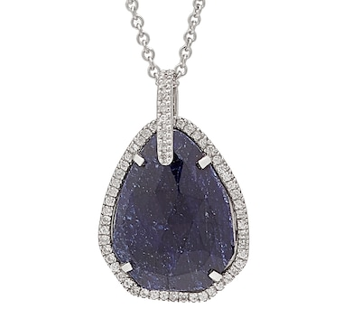 "Elizabeth Strauss Sterling Silver Rhodium Plate Pear Shape Gemstone Pendant with 16+2"" Chain"