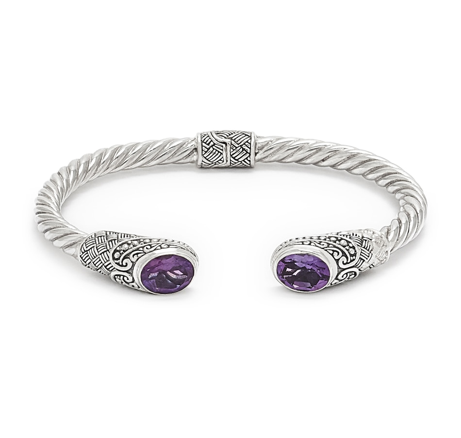 Image 548908_AMY.jpg , Product 548-908 / Price $250.00 , Samuel B. Collection Sterling Silver Gemstone Twisted Hinged Cuff Bangle from Samuel B. Collection on TSC.ca's Jewellery department