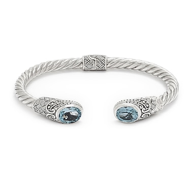 Samuel B. Collection Sterling Silver Gemstone Twisted Hinged Cuff Bangle