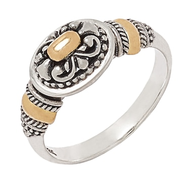 Samuel B. Collection Sterling Silver and 18K Yellow Gold Accent Balinese Design Ring