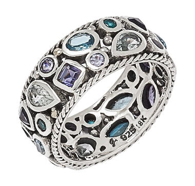Samuel B. Collection Sterling Silver Multi Gemstone Band
