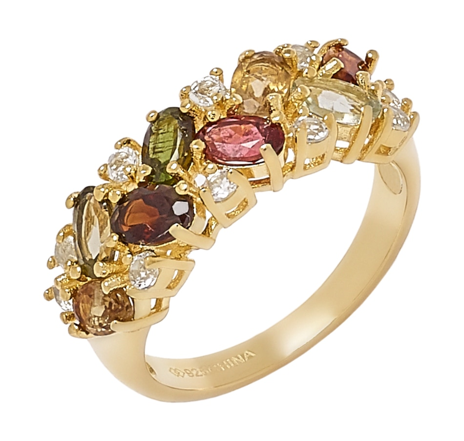 Image 548969.jpg , Product 548-969 / Price $89.88 , Elizabeth Strauss Sterling Silver Yellow Gold Plate Multi Tourmaline & White Topaz Ring from Elizabeth Strauss Gem Jewellery on TSC.ca's Jewellery department
