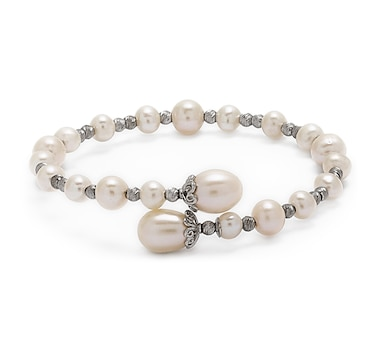 Imperial Pearls Sterling Silver 5-9mm Freshwater Pearl and Rhodium Brilliance Bead Bangle