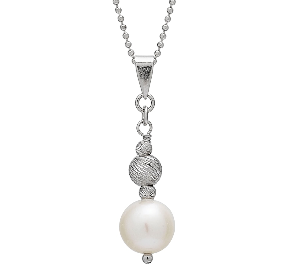 "Image 549062.jpg , Product 549-062 / Price $123.99 , Imperial Pearls Sterling Silver 7-7.5mm Freshwater Pearl and RH Brilliance Bead Pendant with 18"" Chain from Imperial Pearl on TSC.ca's Jewellery department"