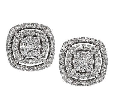 Inspire Diamonds 14K White Gold Diamond Cushion Layer Earrings