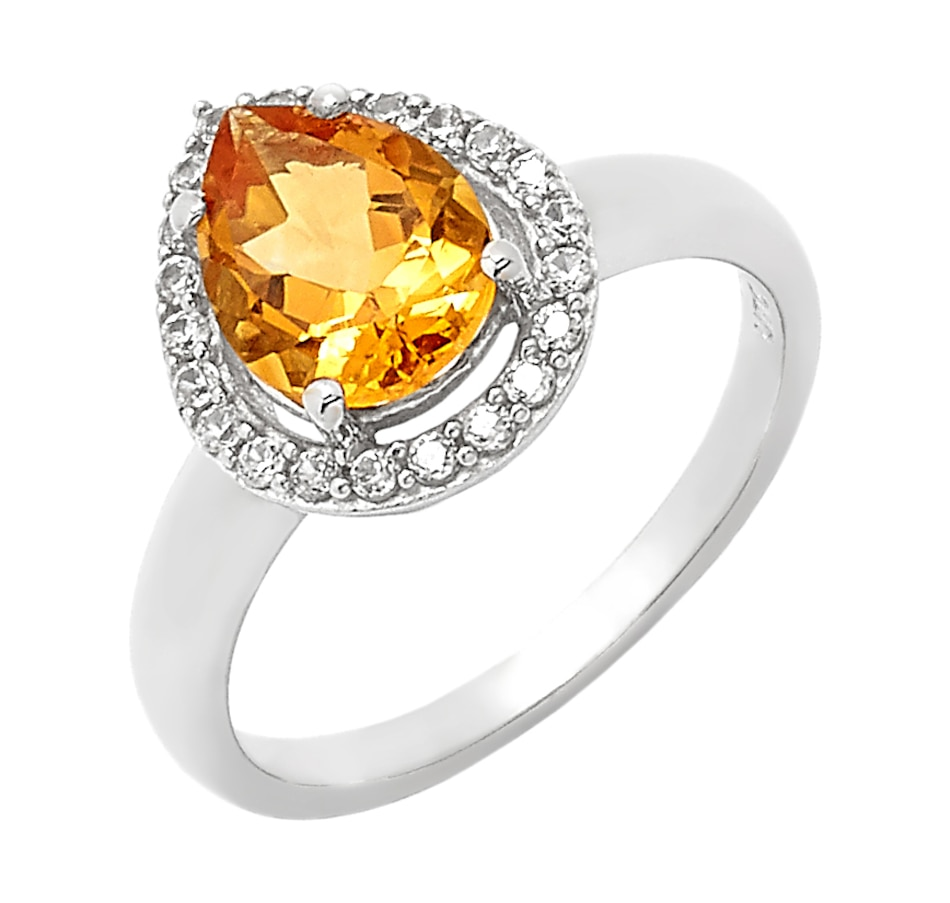 Image 549676_CIT.jpg , Product 549-676 / Price $123.99 , Sterling Silver Pear Shape Gemstone & White Zircon Ring from The Vault on TSC.ca's Jewellery department