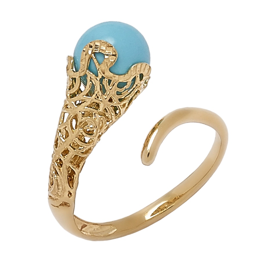Image 549930_TRQ.jpg , Product 549-930 / Price $449.99 , Stefano Oro 14K Yellow Gold Center Stone Bypass Ring from Stefano Oro on TSC.ca's Jewellery department