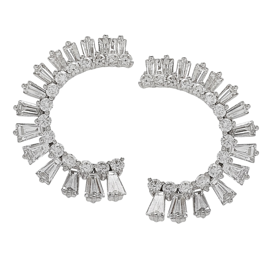 Image 549949.jpg , Product 549-949 / Price $2,499.88 , 18K White Gold Diamond Semi-Hoop Earrings from Diamond Show on TSC.ca's Jewellery department