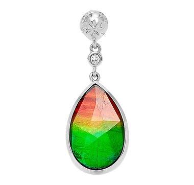 Jewellery pendants online shopping for canadians korite ammolite sterling silver teardrop ammolite an d white topaz pendant aloadofball Gallery