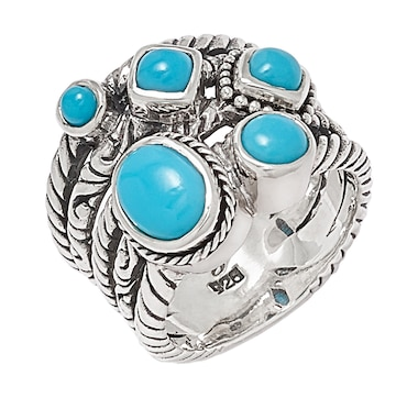 Samuel B. Collection Sterling Silver Multi Strand Sleeping Beauty Turquoise Ring