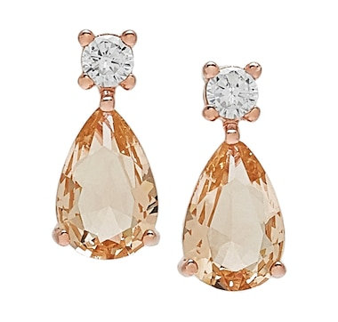 Gem Illusions Sterling Silver Simulated Gemstone and Cubic Zirconia Pear Drop Earrings